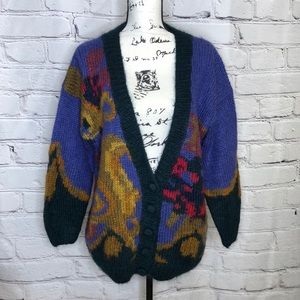 Vintage Rosanna Hand Knit Mohair Blend Oversized Cardigan - 80's - small